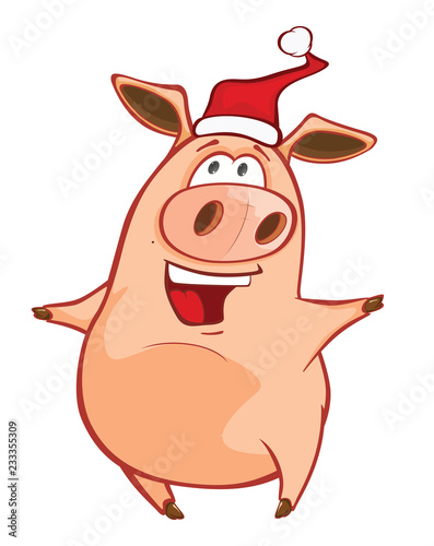 Vector Illustration of a Cute Pig. Cartoon Character. Coloring Book. Outline  - 233355309