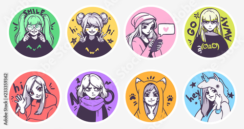 A set of cute anime girls illustrations in various clothes doing different activities with different expressions. Stickers or badges - 233359362