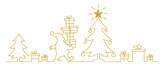 Weihnachtsmann bringt Geschenke am Heilgabend und legt sie unter den Tannenbaum - continuous line drawing