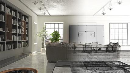 Monolocale con camera da letto e libreria, divano e televisore, illustrazione 3d