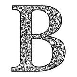Illustration letter B letter black with white ornament - 233361309