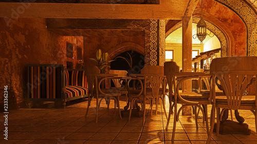 Architettura islamica, rendering 3d, illustrazione 3d