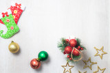 christmas decoration on white wood background , top view - 233370719