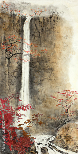 Wall mural autumn mountains waterfall and trees