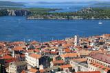 Historic city centre of Sibenik, Croatia . Adriatic Sea in the background. View from the Barone Fortress. - 233378982