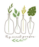 Vector illustration. stylish home decor. Eco poster with text - ' My secret garden'. Gardening print for t-shirt and eco friendly design. - 233384514