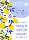Summer exotic and tropic background design. Composition with lemons and leaves. Vector universal card with place for text. - 233385359