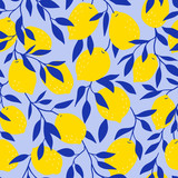 Tropical seamless pattern with yellow lemons on the blue background. Fruit repeated background. Vector bright print for fabric or wallpaper. - 233385380