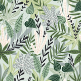 Seamless pattern with tropical leaves. Beautiful print with hand drawn exotic plants. Swimwear botanical design. Vector illustration. - 233385382
