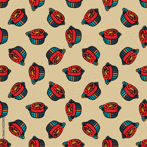 fototapeta na ścianę Candy seamless pattern. Endless comfit background. Vector illustration.