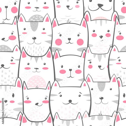 fototapeta na ścianę Cat, kitty - cute, funny pattern.