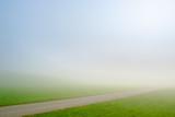 Feldweg auf Wiese bei Nebel - 233392995