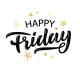Happy Friday lettering, Positive hand written quote - 233402187