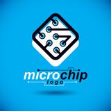 Futuristic cybernetic scheme, vector motherboard. Digital element, square circuit board. Electronic microprocessor logo. - 233406788