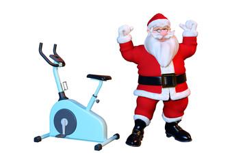 3D Rendering Santa and Bike on White © photosvac