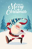 Fototapety Merry Christmas and new year greeting card retro design. Vector