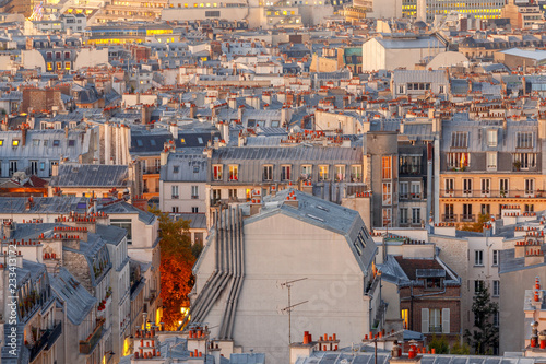 Paris. Aerial view of the city at sunrise.