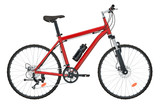 Red Bicycle side view, 3D rendering