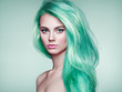 Leinwanddruck Bild - Beauty Fashion Model Girl with Colorful Dyed Hair. Girl with perfect Makeup and Hairstyle. Model with perfect Healthy Dyed Hair. Green Hair