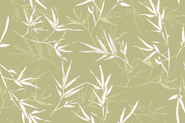 Seamless graphic hand drawn bamboo pattern 