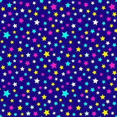 Festive and bright pattern of starry night - for kids parties and celebration