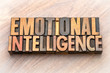 emotional intelligence - word abstract in wood type