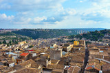 panorama of the historic center of Modica Sicily Italy