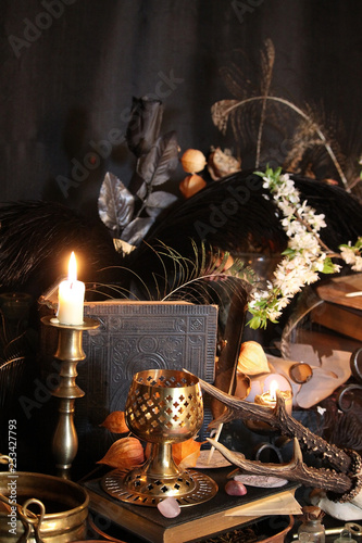 Black candle Magic Ritual  Antique Magic Book  Witchcraft Peacock