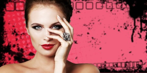 Portrait of beautiful young woman with    make-up and ring © BillionPhotos.com