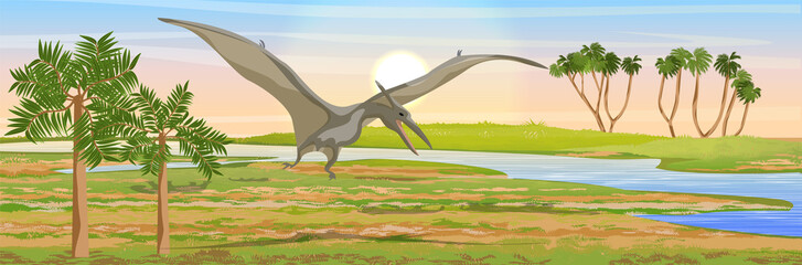 Flying reptile pteranodon in the sky over the valley of the river. Prehistoric animals and plants. Vector landscape of the Mesozoic era. Pterodactyl