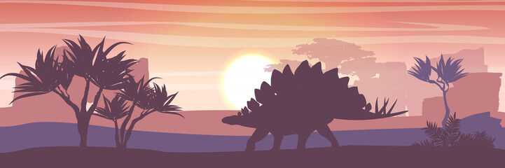 Silhouette of a large stegosaurus against the background of trees and rocks. Prehistoric fauna and flora. Animals of the Mesozoic and Paleozoic. Vector landscape