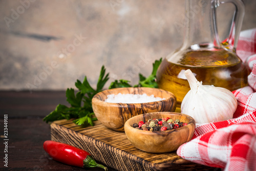 Wall mural  Ingredients for cooking on wooden background.