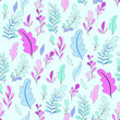 Texture with flowers and plants. Floral ornament. Original flowers pattern. - 233450947