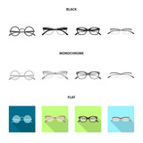 Vector illustration of glasses and frame icon. Collection of glasses and accessory stock symbol for web. - 233463198