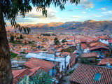 Aerial view of streets and houses in Cusco city, Peru.