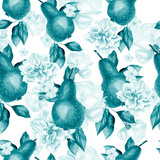 Beautiful watercolor pattern with pears and flowers of roses and peonies.  - 233468774