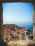 Dubrovnik bay city wall from window
