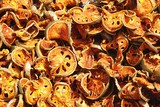Closeup of dried lotus root slices at a market in Luang Prabang, Laos