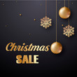 Christmas sale card with golden balls and snowflakes. Vector.