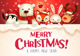 Santa Claus, Reindeer and Elf with big signboard. Merry Christmas calligraphy lettering design. Creative typography for holiday greeting. - 233486736