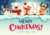 Santa Claus, Reindeer and Elf with big signboard. Merry Christmas calligraphy lettering design. Creative typography for holiday greeting. - 233486737