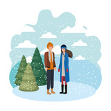 couple with winter clothes and winter pine avatar character - 233490173