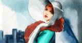 beautiful woman. fashion illustration. watercolor painting - 233492110