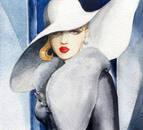 beautiful woman. fashion illustration. watercolor painting - 233492125