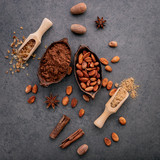 Cocoa powder and cacao beans on stone background. - 233503317