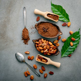 Cocoa powder and cacao beans on concrete background. - 233503321