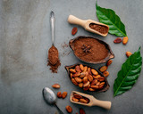 Cocoa powder and cacao beans on concrete background. - 233503365