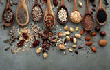 Different types of grains and cereals on shabby concrete background. - 233503502