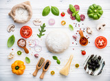 The ingredients for homemade pizza on white wooden background. - 233503946