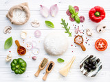 The ingredients for homemade pizza on white wooden background. - 233503949